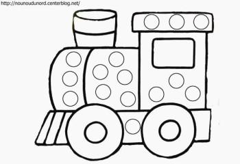 dessin pour gommettes Impressionnant Coloriage  gommettes le train dessiné par nounoudunord